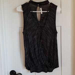 Criss-Cross Strappy Drape Front Marled Black Tank